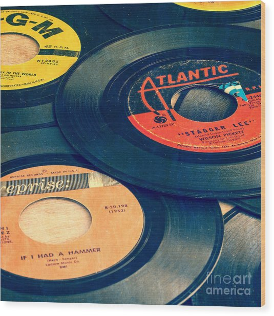 Old 45 Records Square Format Wood Print