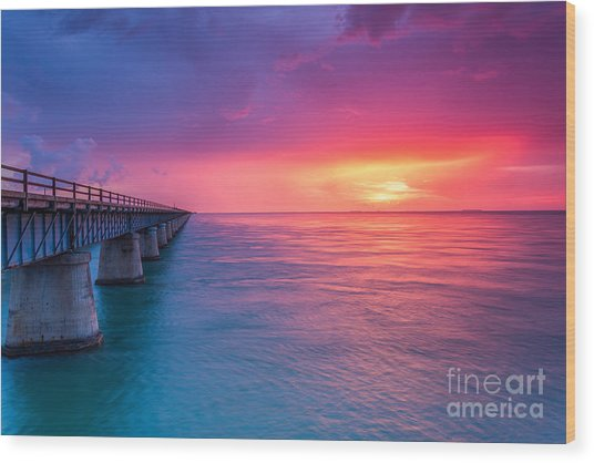 Old 7 Mile Bridge Sunset Wood Print