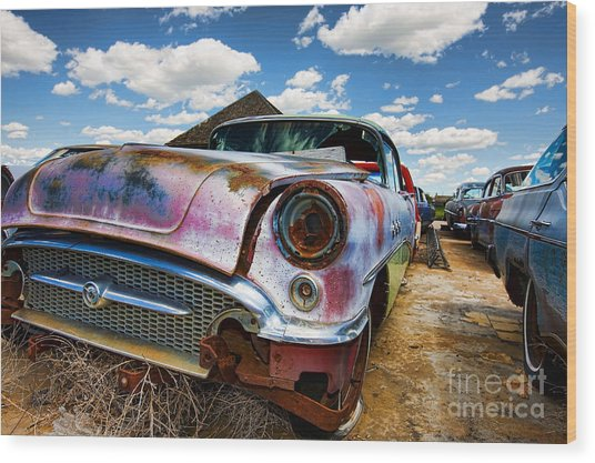 Old Abandoned Cars Wood Print
