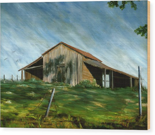 Old Barn Landscape Art Pleasant Hill Louisiana  Wood Print