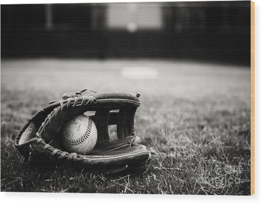 Old Baseball And Glove On Field Wood Print