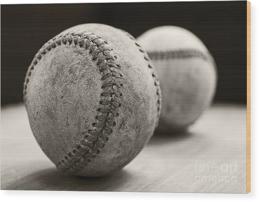 Old Baseballs Wood Print