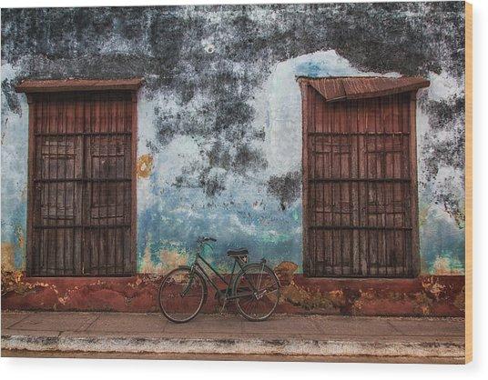 Old Bike And Grunge Wall Wood Print