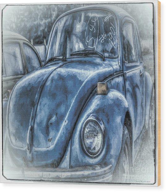 Old Blue Bug Wood Print