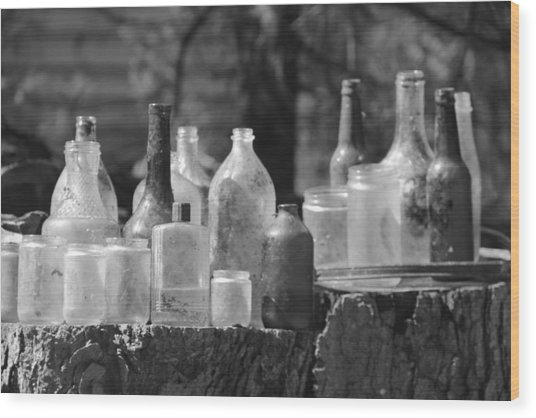 Old Bottles Wood Print by Sarah Klessig
