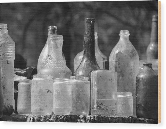 Old Bottles Two Wood Print by Sarah Klessig