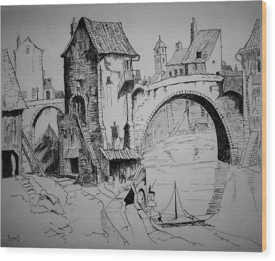 Old Bridge Wood Print by Maxwell Mandell