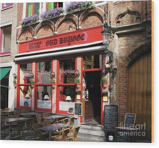 Old Brugge Tavern Wood Print by Mel Steinhauer