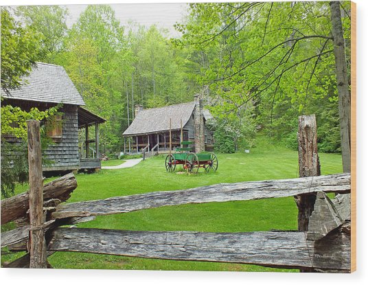 Old Cabins At The Cradle Of Forestry Wood Print