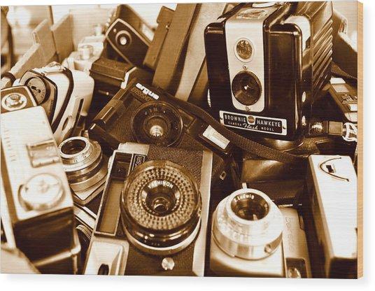 Old Cameras Wood Print by Marina Slusar