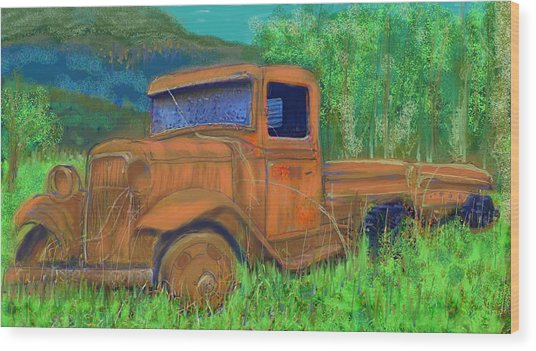 Old Canadian Truck Wood Print