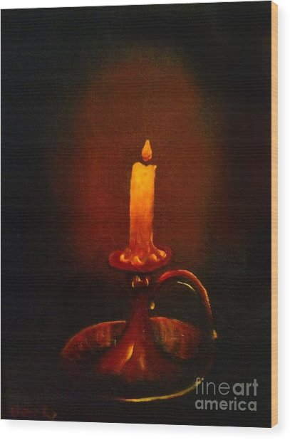 Old Candle Stick Painting Wood Print