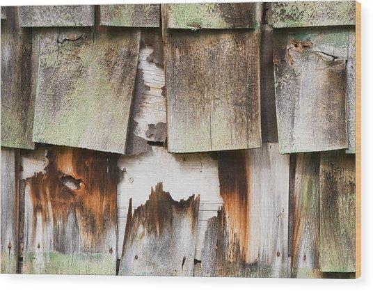Old Cedar Shingles 1735 Wood Print by Bob Hills