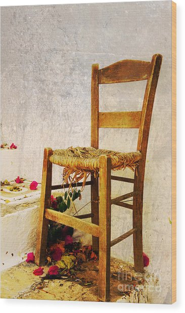 Old Chair Wood Print by Christos Dimou