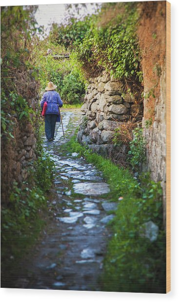 Old Chinese Woman Walks Up Winding Wood Print