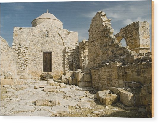 Old Church Anogyra  Wood Print