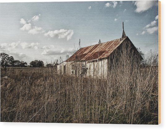 Old Church At Muldoon Wood Print