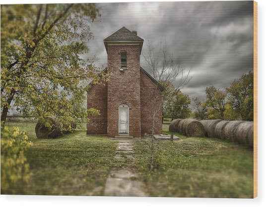 Old Church In Fall Wood Print