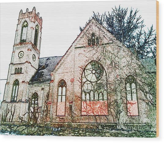 Old Church In Fresco Wood Print