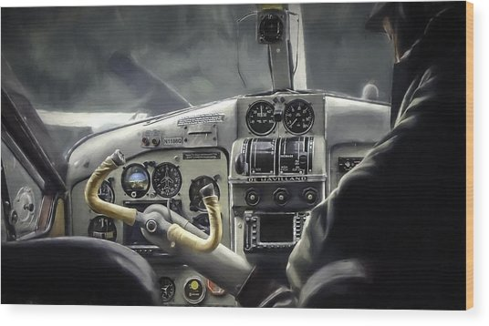 Old Cockpit Wood Print by Barb Hauxwell