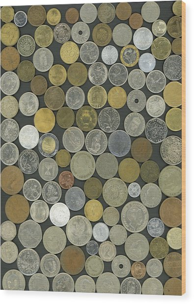 Old Coins Wood Print
