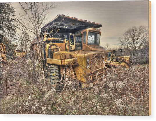 Old Construction Truck Wood Print by Dan Friend
