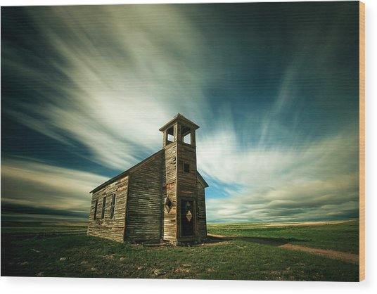 Old Cottonwood Church Wood Print