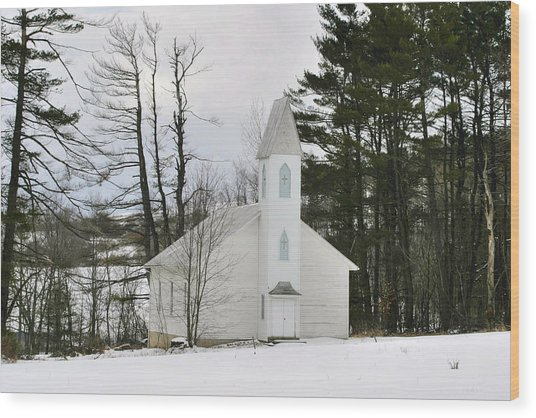 Old Country Church In The Winter Woods  Wood Print