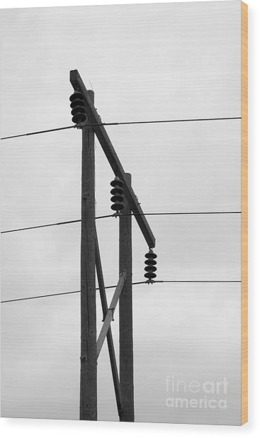 Old Country Power Line Wood Print