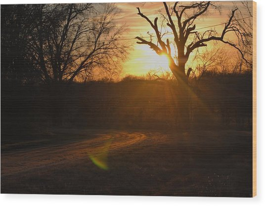 Old Country Road. Wood Print by Rachel Bazarow