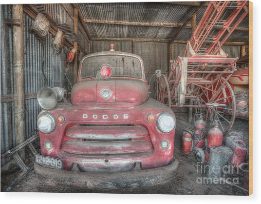 Old Dodge Fire Truck Wood Print by Shannon Rogers