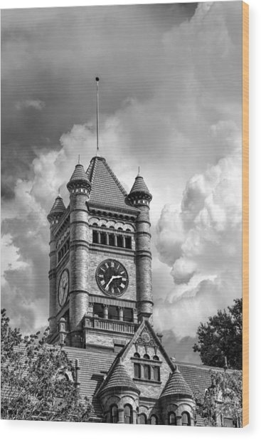 Old Dupage County Courthouse Clouds Black And White Wood Print