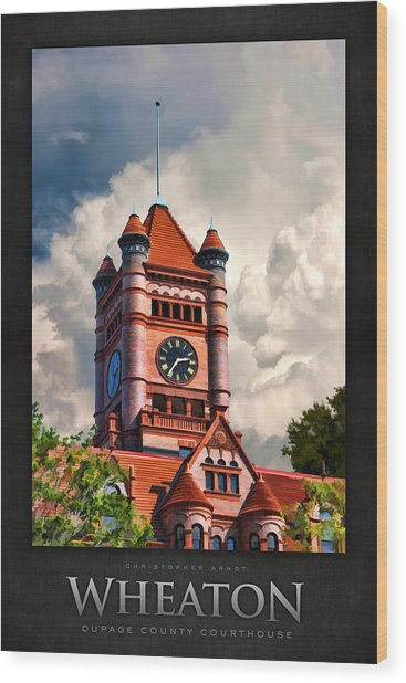 Old Dupage County Courthouse Clouds Poster Wood Print