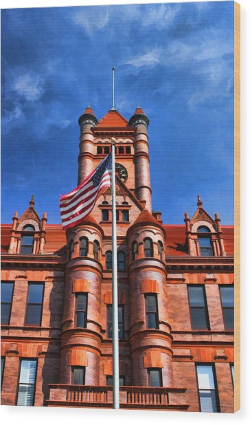 Old Dupage County Courthouse Flag Wood Print