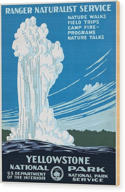 Old Faithful Yellowstone National Park Poster Ca 1938 Wood Print