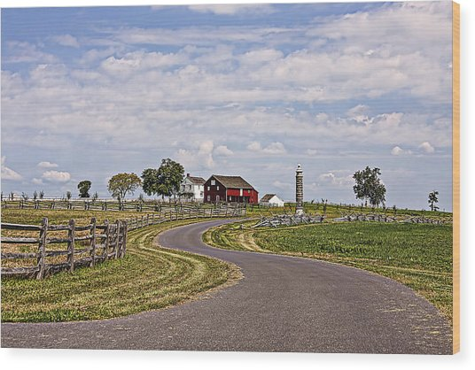 Old Farm House And Barn Gettysburg Wood Print by Terry Shoemaker