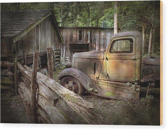Old Farm Pickup Truck Wood Print