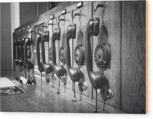 Old-fashioned Wooden Telephone Wood Print by Anja Heid / Eyeem