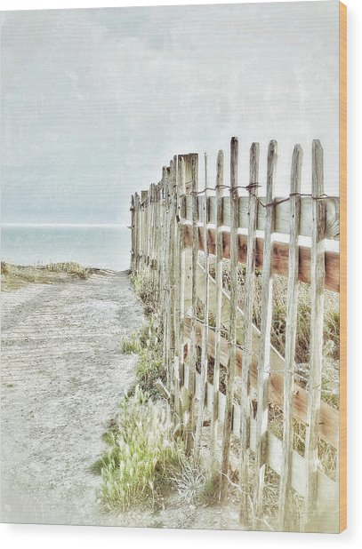Old Fence To The Sea  Wood Print