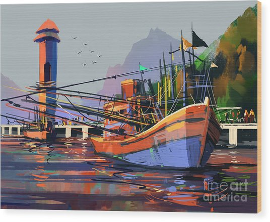 Old Fishing Boat In The Harbor,digital Wood Print