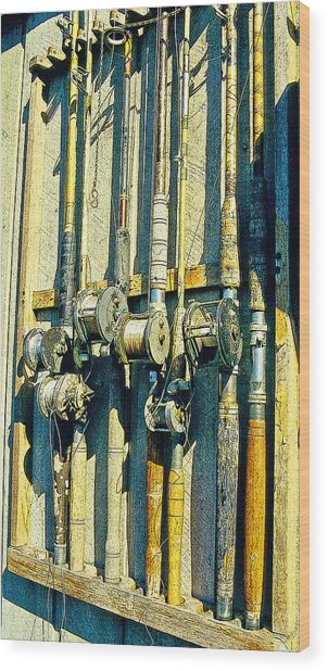 Old Fishing Rods Poster Image Wood Print