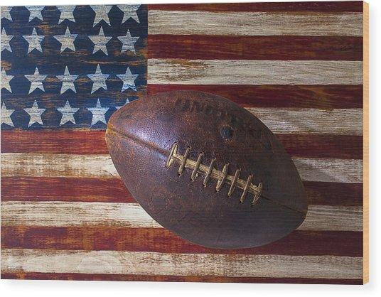 Old Football On American Flag Wood Print