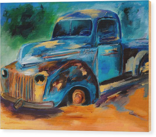 Old Ford In The Back Of The Field Wood Print