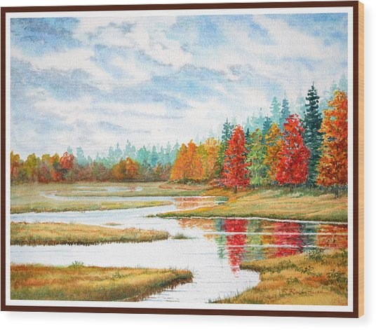 Old Forge Autumn Wood Print