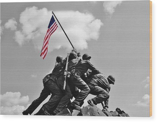 Old Glory At Iwo Jima Wood Print