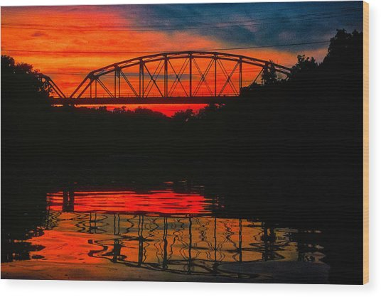 Old Gravois Bridge Silhoutte Wood Print