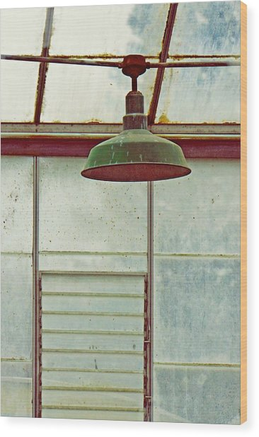 Old Green Lamp Wood Print