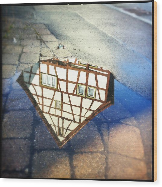 Old Half-timber House Upside Down - Water Reflection Wood Print
