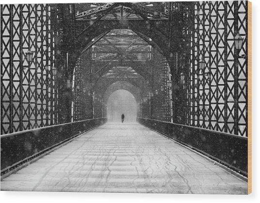 Old Harburg Bridge In Snow Wood Print by Alexander Sch?nberg