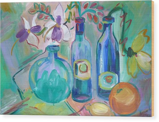 Old Hyacinth Bottle Wood Print by Brenda Ruark
